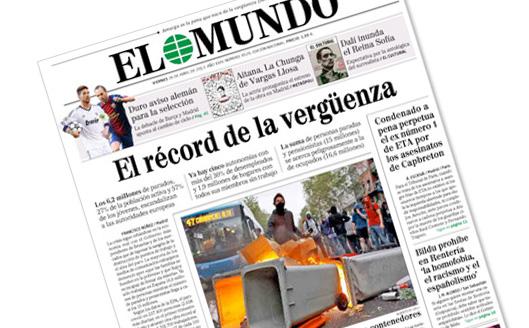 """Portada de El Mundo 26-4-2013: """"El record de la vergüenza"""""""